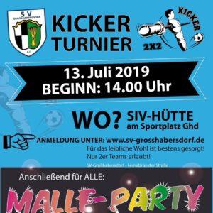 Kicker-Turnier mit Malleparty