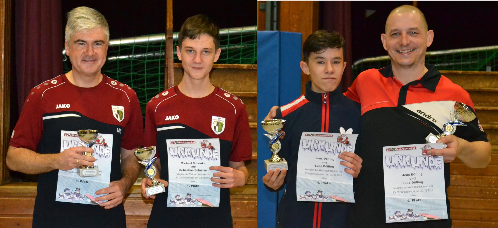 Gewinner Tischtennis Weihnachtsturnier 2019