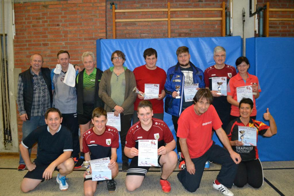 Gewinner Tischtennis Weihnachtsturnier 1. Tag
